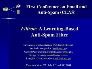 Filtron : A Learning-Based  Anti-Spam Filter