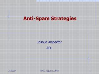 Anti-Spam Strategies
