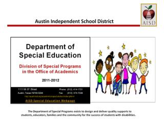 STATE OF THE DISTRICT FOR SPECIAL EDUCATION
