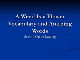 A Weed Is a Flower Vocabulary and Amazing Words