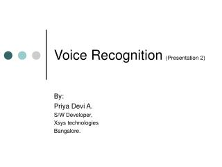 Voice Recognition (Presentation 2)