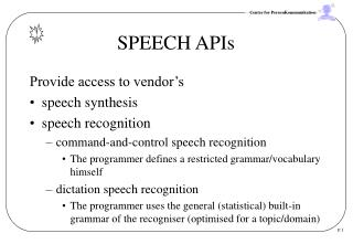 SPEECH APIs