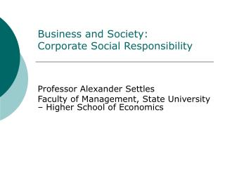 Business and Society: Corporate Social Responsibility