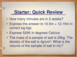 Starter: Quick Review