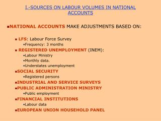 I.-SOURCES ON LABOUR VOLUMES IN NATIONAL ACCOUNTS