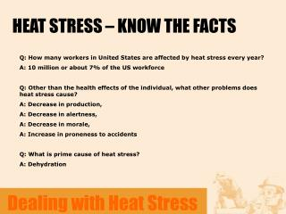 HEAT STRESS – KNOW THE FACTS