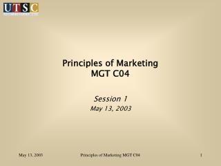 Principles of Marketing MGT C04