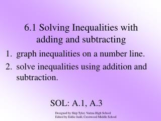 6.1 Solving Inequalities with adding and subtracting