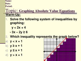 Name:         Date:         Period: Topic:  Graphing Absolute Value Equations