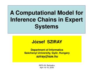 A Computational Model for Inference Chains in Expert Systems