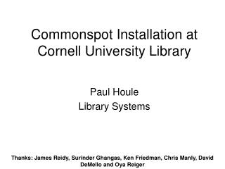 Commonspot Installation at Cornell University Library