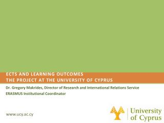 ECTS and learning outcomes  the project at the university of  cyprus