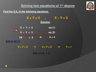 Solving two equations of 1 st degree