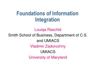 Foundations of Information Integration