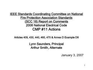 IEEE Standards Coordinating Committee on National Fire Protection Association Standards