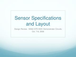 Sensor Specifications and Layout
