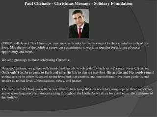 Paul Chehade - Christmas Message - Solidary Foundation
