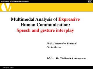Multimodal Analysis of  Expressive  Human Communication: Speech and gesture interplay