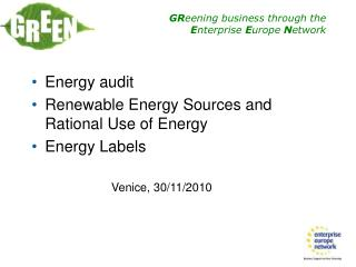 Energy audit  Renewable Energy Sources and Rational Use of Energy  Energy Labels