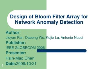 Design of Bloom Filter Array for Network Anomaly Detection