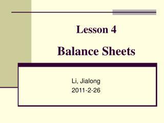 Lesson 4 Balance Sheets