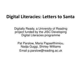 Digital  Literacies : Letters to Santa