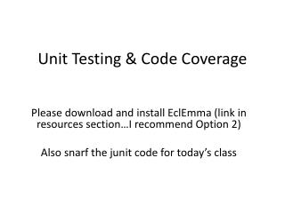 Unit Testing & Code Coverage