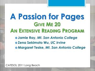 A Passion for Pages Give Me 20 An Extensive Reading Program