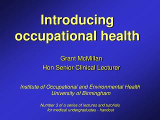 Introducing occupational health