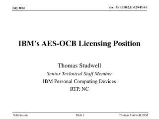 IBM's AES-OCB Licensing Position