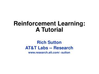 Reinforcement Learning: A Tutorial