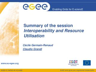 Summary of the session   Interoperability and Resource Utilisation