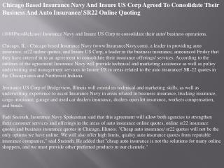 Chicago Based Insurance Navy And Insure US Corp Agreed To Co