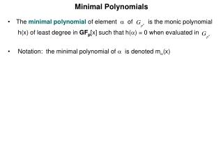 Minimal Polynomials