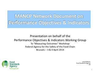 MANCP Network Document on Performance Objectives & Indicators
