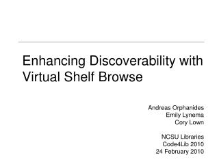Enhancing Discoverability with Virtual Shelf Browse
