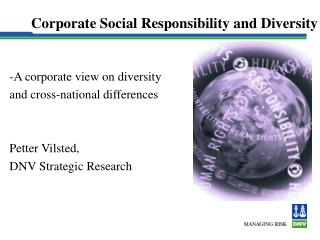 Corporate Social Responsibility and Diversity