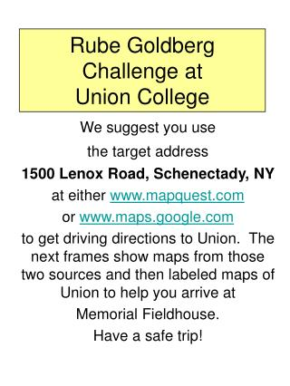 Rube Goldberg Challenge at Union College