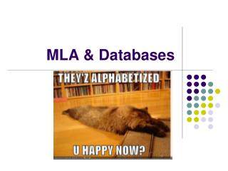 MLA & Databases