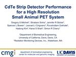 CdTe Strip Detector Performance for a High Resolution  Small Animal PET System