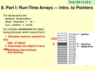 8. Part I: Run-Time Arrays — Intro. to Pointers