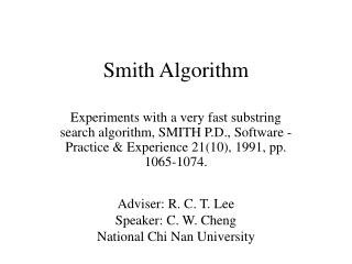 Smith Algorithm