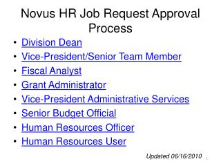 Novus HR Job Request Approval Process