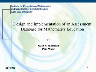 Design and Implementation of an Assessment Database for Mathematics Education