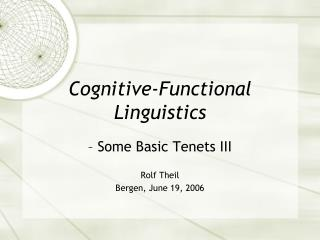Cognitive-Functional Linguistics