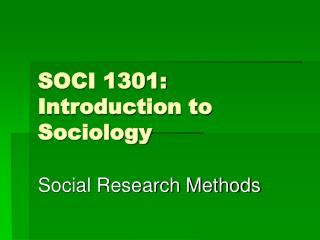 SOCI 1301: Introduction to Sociology