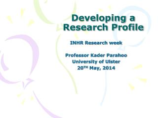 Developing a Research Profile