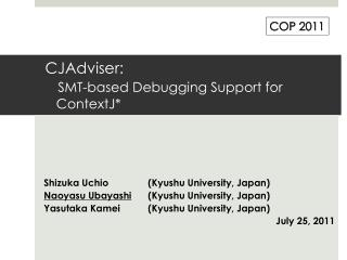 CJAdviser : SMT-based Debugging Support for ContextJ *