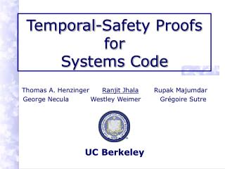 Temporal-Safety Proofs for  Systems Code