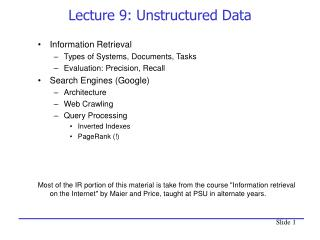 Lecture 9: Unstructured Data